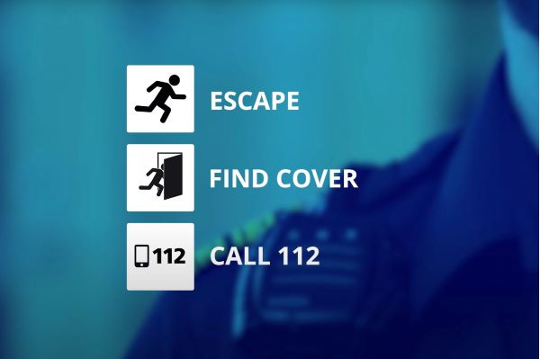 How to act in the event of an attack. Escape, find cover, call 112.
